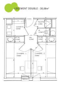 Plan logement double - Résidente étudiante Le Portail