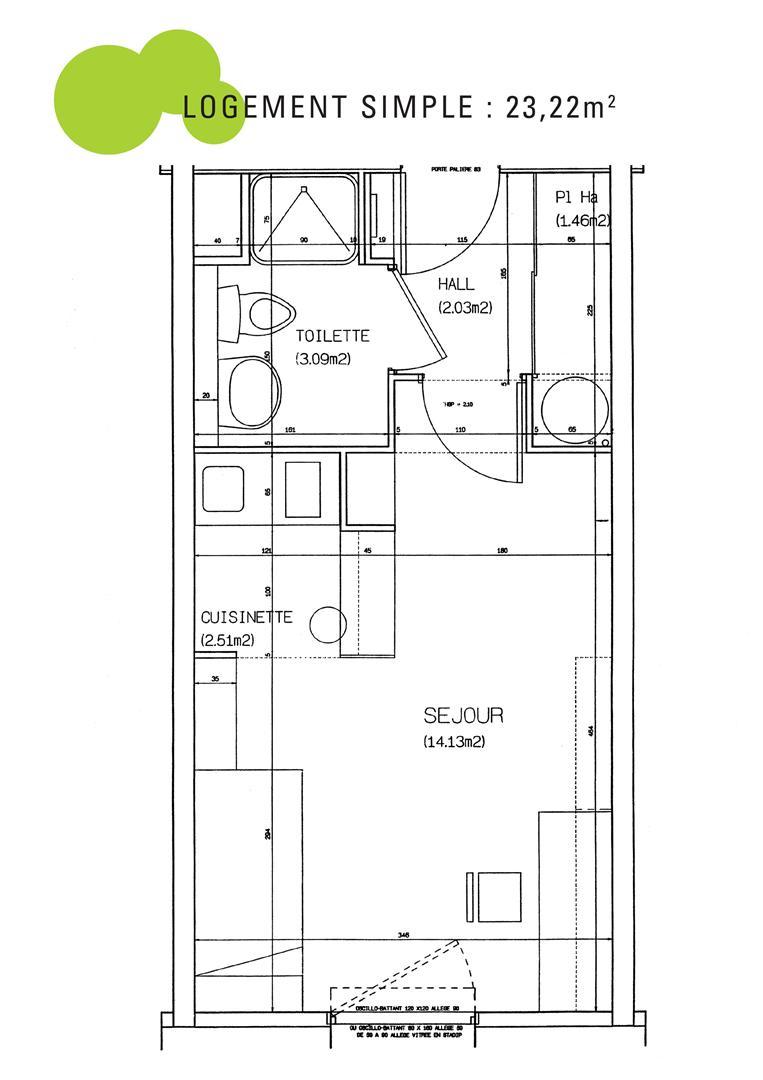 plan logement simple r sidence tudiante le portail. Black Bedroom Furniture Sets. Home Design Ideas